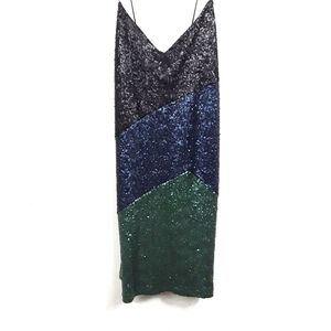ASOS   Strappy Sequin Colorblock Party Dress